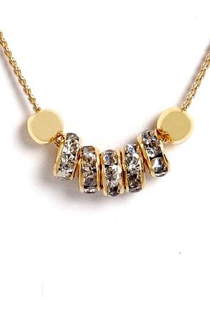 Rings True Gold Rhinestone Necklace