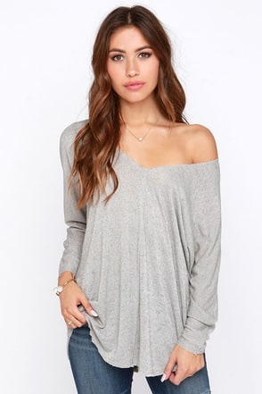 Project Social T Sagebrush Beauty Grey Top at Lulus.com!