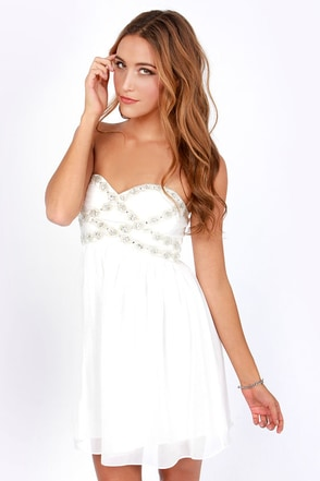 Getting to Know You Strapless White Dress