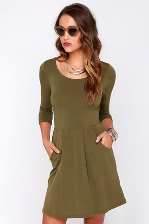 Forest Friends Olive Green Dress at Lulus.com!