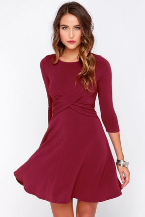 Shake it Off Burgundy Dress at Lulus.com!