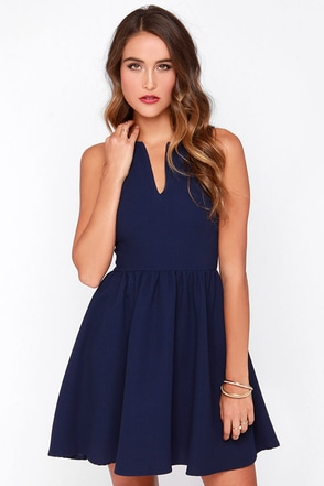 Change of Pace Sleeveless Navy Blue Dress at Lulus.com!