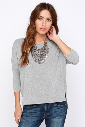 Sugar for Your Tee Grey High-Low Top at Lulus.com!