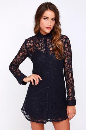 BB Dakota Tanya Navy Blue Lace Shirt Dress at Lulus.com!