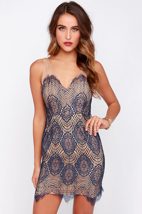 LULUS Exclusive Blank Space Navy Blue Lace Dress at Lulus.com!