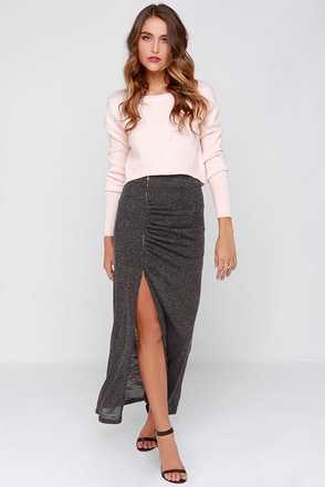 Precious Time Charcoal Grey Maxi Skirt at Lulus.com!