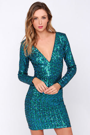 Dress the Population Bridget Green and Blue Sequin Dress at Lulus.com!