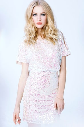 LULUS Exclusive Make Me Over Cream Sequin Dress at Lulus.com!