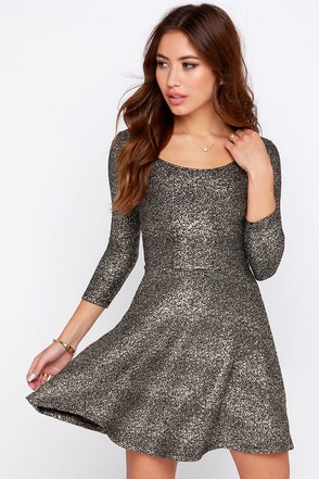 Interstellar Dweller Gold Skater Dress at Lulus.com!