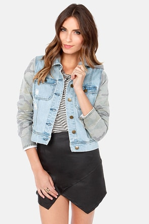 Billabong Maddie Joy Distressed Camo and Denim Jacket