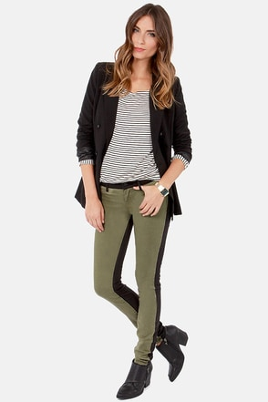 Billabong Peddler Black and Olive Green Skinny Pants