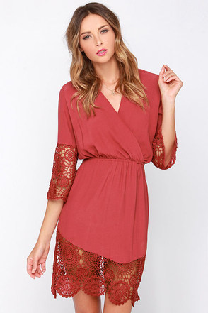 Fond of You Brick Red Lace Dress at Lulus.com!