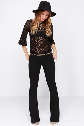Here to Flare Black Flare Jeans at Lulus.com!