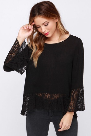 New Flame Black Lace Top at Lulus.com!