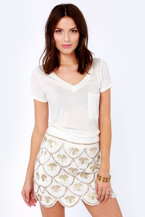 Drop a Bombshell Ivory Sequin Skirt