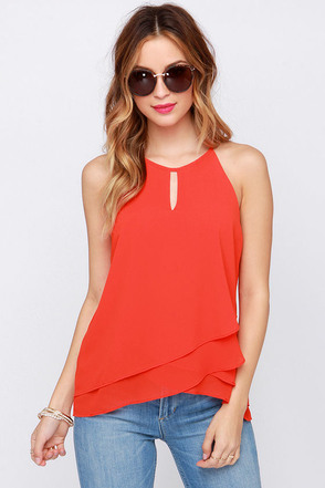 The Whole Truth Red Orange Top at Lulus.com!
