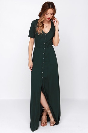 Obey Jane Street Forest Green Maxi Dress at Lulus.com!