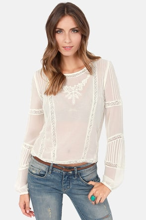 Billabong Sea Through Me Sheer Cream Lace Top