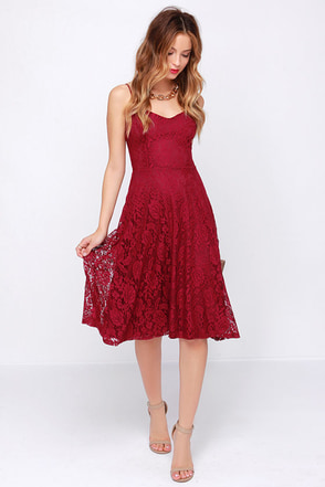 On the Boulevard Navy Blue Lace Midi Dress at Lulus.com!