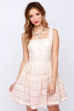 Dance to the Music Pale Blush Lace Dress at Lulus.com!
