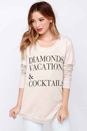 Chaser Diamonds Vacation Beige Sweater at Lulus.com!