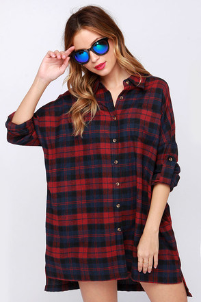 Lucky Like a Lumberjack Wine Red Flannel Shirt Dress at Lulus.com!