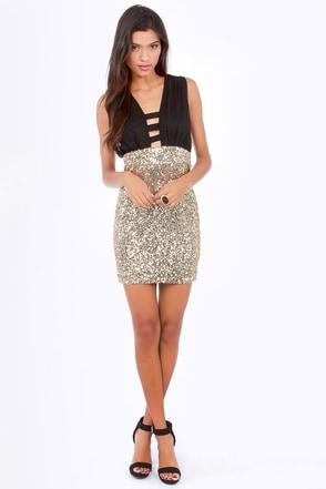 Sexy Black Dress - Gold Sequin Dress - Party Dress