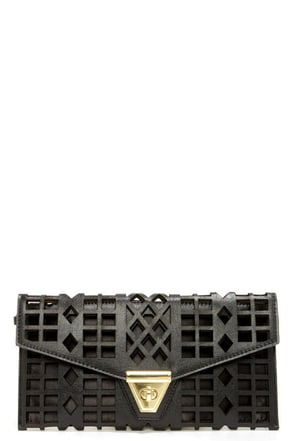 Geo du Jour Cutout Black Clutch