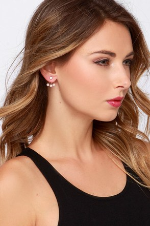 Hot and Bordered Gold Pearl Earring Jackets at Lulus.com!