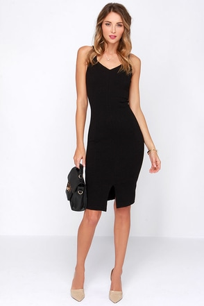 Perfect Physical Fit-ness Black Midi Dress at Lulus.com!
