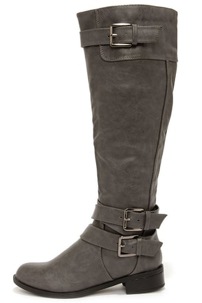 Soda Doric Grey Knee-High Riding Boots at Lulus.com!