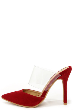 Fiery and Clear Red and Lucite Pointed Toe Mules at Lulus.com!