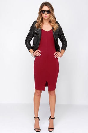LULUS Exclusive Perfect Physical Fit-ness Wine Red Midi Dress at Lulus.com!