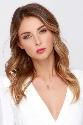 Point Taken Gold Spike Necklace at Lulus.com!
