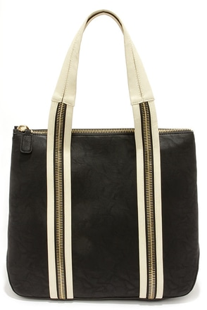 Big Buddha Avery Cream and Black Tote at Lulus.com!