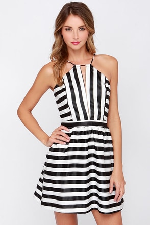 Compare and Contrast Black and Ivory Striped Dress at Lulus.com!