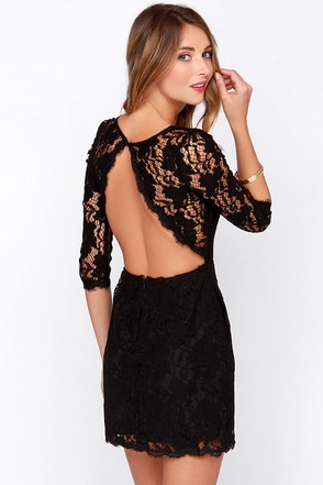 Somebody to Love Backless Navy Blue Lace Dress at Lulus.com!
