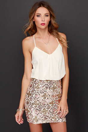 Invite Only Cream and Gold Sequin Dress at Lulus.com!