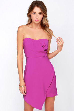 Sweet Moves Magenta Strapless Dress at Lulus.com!
