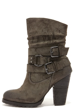 Tumbling Act Khaki Suede High Heel Mid-Calf Boots at Lulus.com!