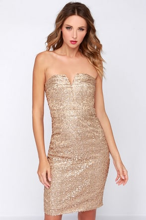 Bariano Ava Strapless Gold Sequin Dress at Lulus.com!