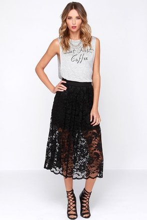 Evening Escapade Black Lace Midi Skirt at Lulus.com!