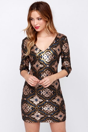 Ornament to Be Gold Sequin Dress at Lulus.com!