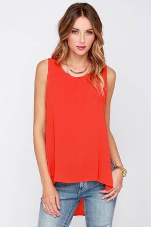 Dee Elle Higher Power Red Orange High-Low Top at Lulus.com!