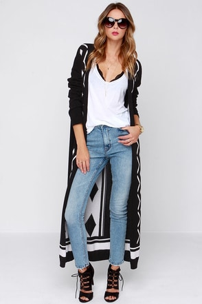 Somedays Lovin' Gnarly Black and Ivory Print Cardigan Sweater at Lulus.com!
