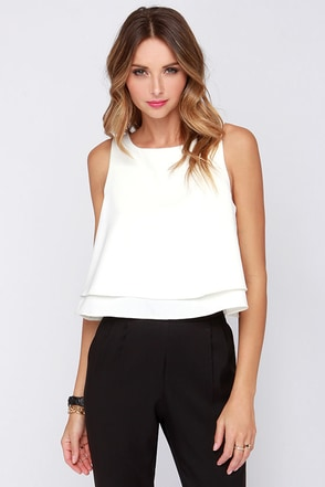 Glamorous With Sugar on Top Ivory Crop Top at Lulus.com!