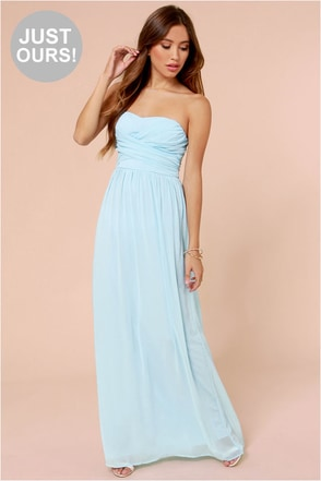 LULUS Exclusive Slow Dance Strapless Light Blue Maxi Dress at Lulus.com!