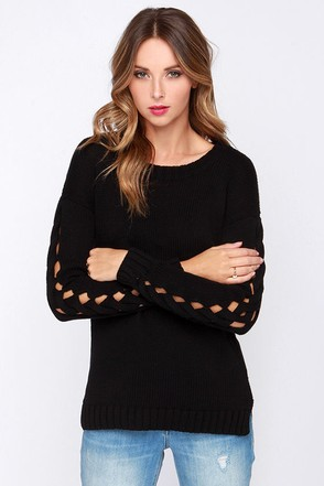 Olive & Oak I'm Glad You Braid Black Sweater at Lulus.com!
