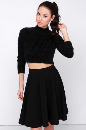 Mink Pink First Base Skivvy Black Cropped Sweater at Lulus.com!