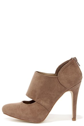 Jitterbug Taupe Suede High Heel Shooties at Lulus.com!